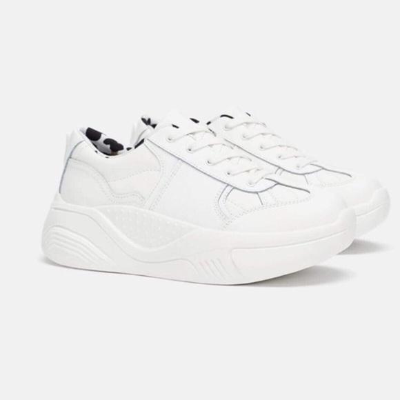 {Zara} Platform 'Over-Sized' White Sneakers